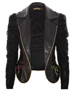 Leather Lace Chain Zip Accent Black Biker Jacket UK 8 10 12