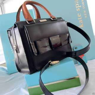 Kate Spade Bow Bridge Little Kennedy Bag Black Natural Ostrich ALL