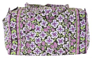 Vera Bradley Retired Plum Petals Large Duffle Duffel Carry on Bag New