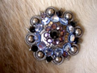 Berry Crystals Bling Conchos Horse Saddle Headstall Aqua Purple C03