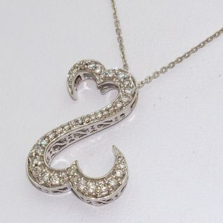 Jane Seymour 14K Solid White Gold 0 50ct Diamond Open Heart Necklace