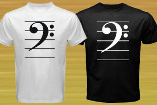 New BASS CLEF Music note symbol Jazz pop Rock T shirt Size S M L XL