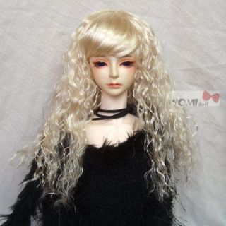BJD Doll SD Long Curly Wig Dollfie Light Blond