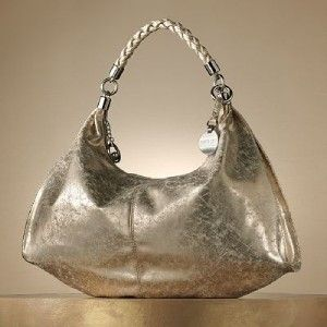 NEW JENNIFER LOPEZ MAUREEN SPARKLE HOBO GOLD METALLIC HANDBAG NWT $