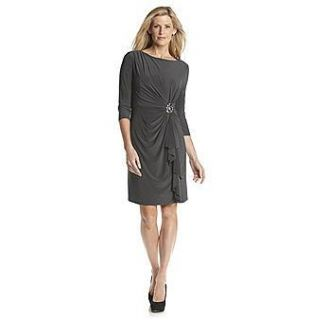 Jessica Howard Gray Jersey Ruched Draped Beaded Cocktail Sheath Dress