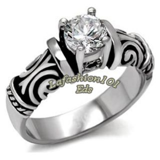 Style Fashion Womens Stainless Steel Engagement Ring Sz 5 10