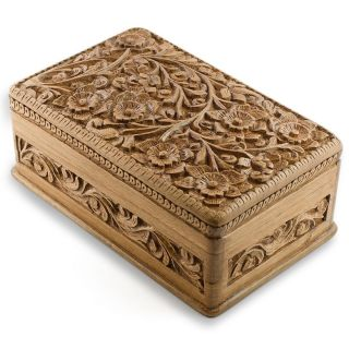 Wooden Jewelry Chest Hand Carved Walnut Wood Jewelry Box India Kashmir