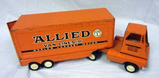 Vintage Metal Orange Tonka Allied Van Lines Semi Truck Worlds Largest
