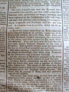 Civil War Newspaper John Singleton Mosby John B Hood Franklin