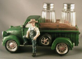 FARM TRUCK SALT PEPPER SHAKER HOLDER Ranch Pickup John Deere Green Garden NEW