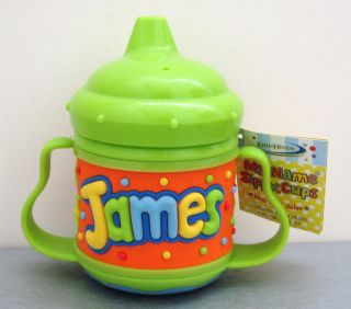 John Hinde my name JAMES SIPPY CUP non spill valve infant toddler baby boy NWT