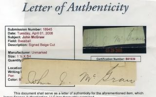 John McGraw JSA Signed Large Cut Autograph
