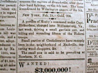 1865 VA Civil War Newspaper John Singleton Mosby Attacks Williamsburg Virginia