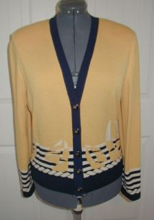 ST JOHN COLLECTION V neck Cardigan SWEATER Size Medium M Cruise Sailboat Logo