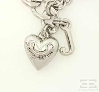 Juicy Couture 2pc Silver Heart Charm Bracelet Jeweled Heart Drop Earrings Set