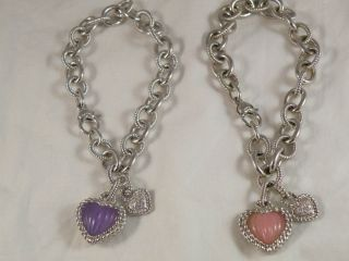 Judith Ripka SS Charm bracelet w/Purple or Pink heart charm (pick your
