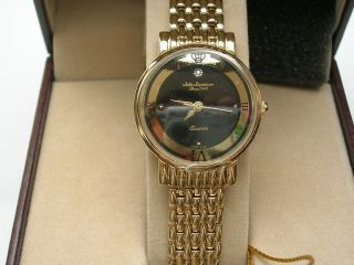 JULES JURGENSEN LADIES GOLD TONE DIAMOND DRESS WATCH BLACK FACE RETAIL