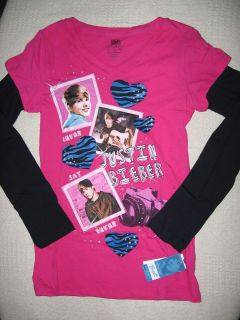 Justin Bieber Girls Large Long Sleeve T Shirt