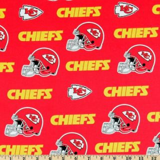 NFL Kansas City Chiefs Red 100 Cotton Fabric Fat Quarter 18x29 Inches