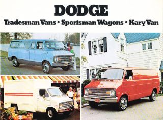 1974 Dodge Tradesman Van Sportsman Kary Sales Brochure