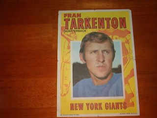1971 FRAN TARKENTON Topps Football Mini Poster card Game NY GIANTS 5