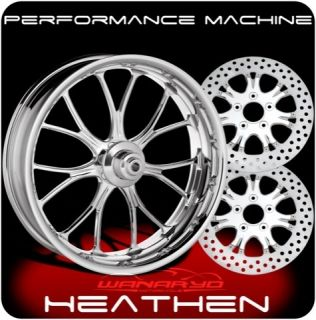 CHROME PERFORMANCE MACHINE HEATHEN WHEELS, ROTORS, PULLEY TIRES HARLEY