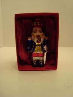Krebs Hand Crafted Mouth Blown Glass Nutcracker Ornament with Box