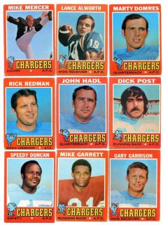 1971 Topps Football San Diego Chargers Lot w Lance Alworth