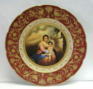 Vienna Madonna Baroque Portrait Plate Charger Signed Langhammer