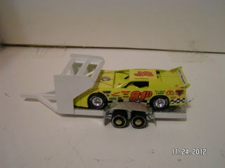 Custom Built White Modified Dirt Late Model Race Car Hauler Trailer 1