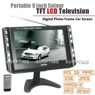 Portable 9 inch AV TV VGA 3IN1 Car LCD Screen Monitor SD USB Remote