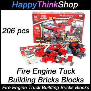 Building Bricks Blocks Fire Engine Truck Compatible with Lego