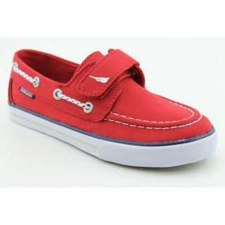 Nautica Little River Youth Kids Boys Size 3 Red Fabric Boat Shoes