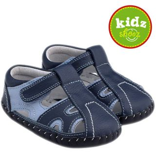 Toddler Leather Soft Sole Baby Shoes Navy Blue Little Blue Lamb