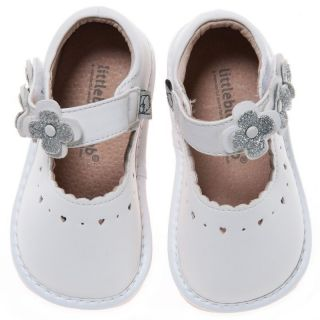 Little Blue Lamb White Mary Janes Leather Squeaky Shoes Baby Toddler