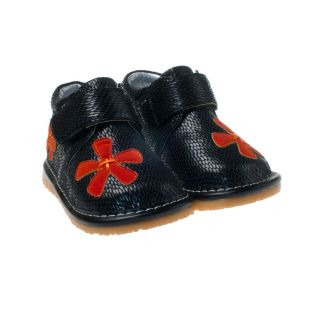 Little Blue Lamb Black Red Flower Leather Squeaky Shoes Baby Toddler