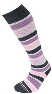 LORPEN Ski Over Calf Merino Wool Socks Pink Grey Stripes Size s M S2WL