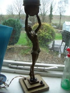 Superb Art Deco Table Lamp Base Ball Dancer Lorentz