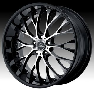 20 inch Staggered Lorenzo WL027 Black Wheels Rims 5x115 Dodge
