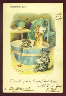 Louis Wain Artist Design 3 Cats Bathing Pub by Tuck Used 1903