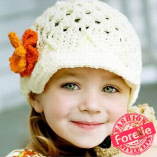 EEM04 Super Sweet Lovely Cute Baby Girl Beanie Flower Knit Crochet Hat