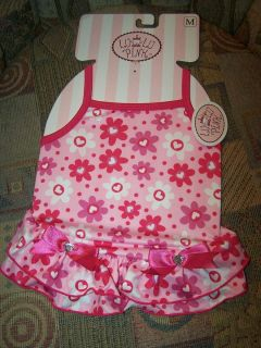 Lulu Pink Dog Puppy Clothes Outfit Dress Flower Hearts Bows Gems Polka