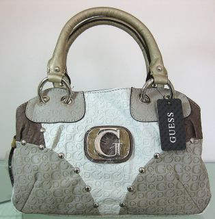 GUESS MAGDALENA MULTI Handbag Purse Satchel Tote Bag Leather White