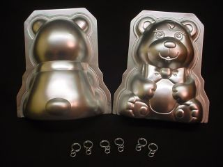 Wilton STAND UP TEDDY BEAR cake pan 3D 1986 metal mold CLIPS Christmas
