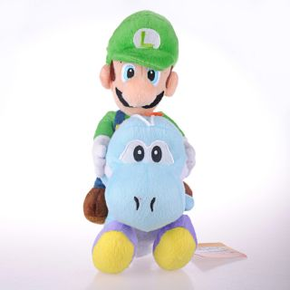 Super Mario Bros Luigi Riding Blue Yoshi 10 Plush Toy AA
