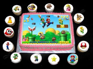 SUPER MARIO BROS Birthday Cake KIT Cake Cupcakes Toppers Party
