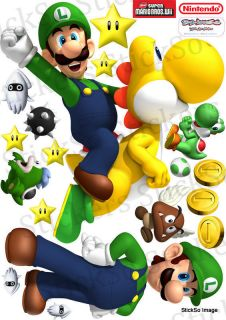 Super Mario Bros Wii Luigi Yoshi Repositionable Wall Sticker Medium to