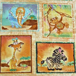 Studio E Cotton Fabric Baby Animals Zebra Elephant Monkey Giraffe Per