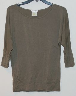 New Womens Matty M Dolman 3 4 Sleeve Top Large Moss Olive Green