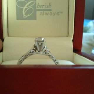 14k White Gold Diamond Solitaire Ring 3 8 Carat Size 8 1 2